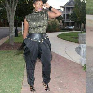 Pants - Black Faux leather fringe pants